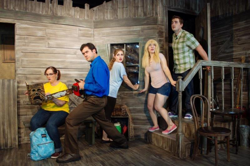 Pictured are some of the cast of Evil Dead The Musical making its Lincoln premiere at TADA Oct. 26 (l-r) Laura Lynn Schafer, Michael Tully, Chloe Schwarting, Soren Tobey and Josh Schafer. Photo credit Megan Rook