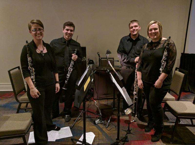 Jennifer Reeves (far right) and other members of clarinet quartet, Hijinx.