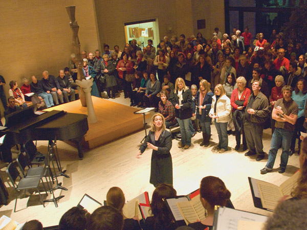 University Choir performing in the Sheldon Museum of Art