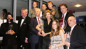 UNL Opera production crew and performers pose with their awards won in 2007.