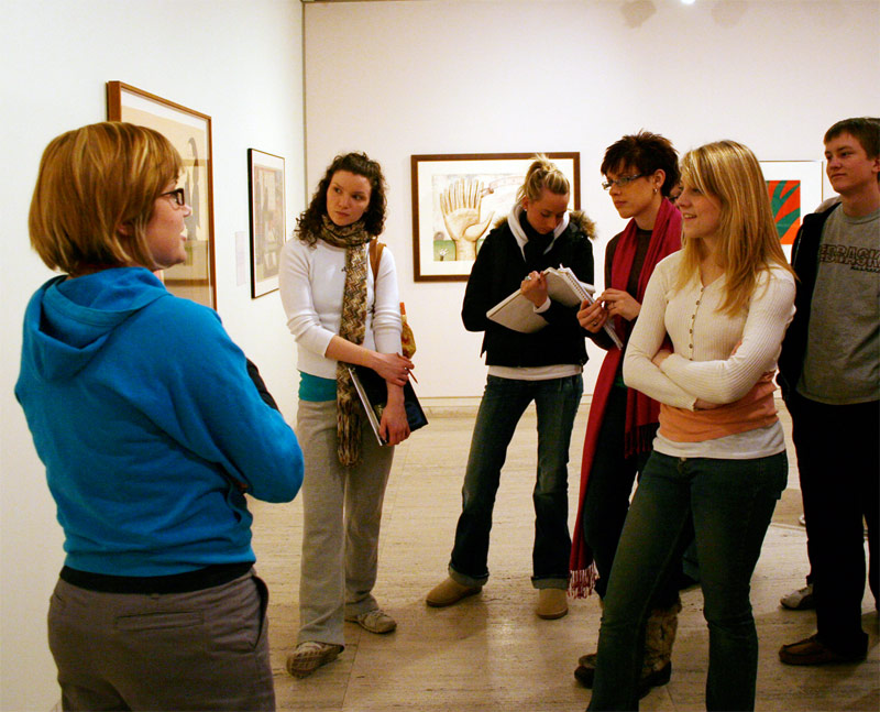 Student docent at Sheldon Museum of Art