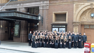 Photo of the University Singers before their performance at Carnegie Hall in 2016