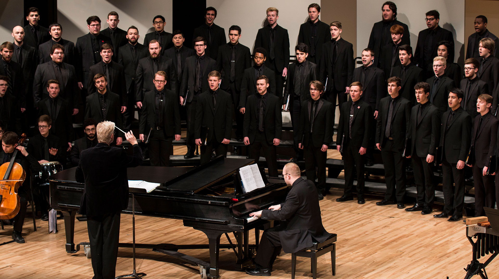 Mens Choir on Kimball Stage