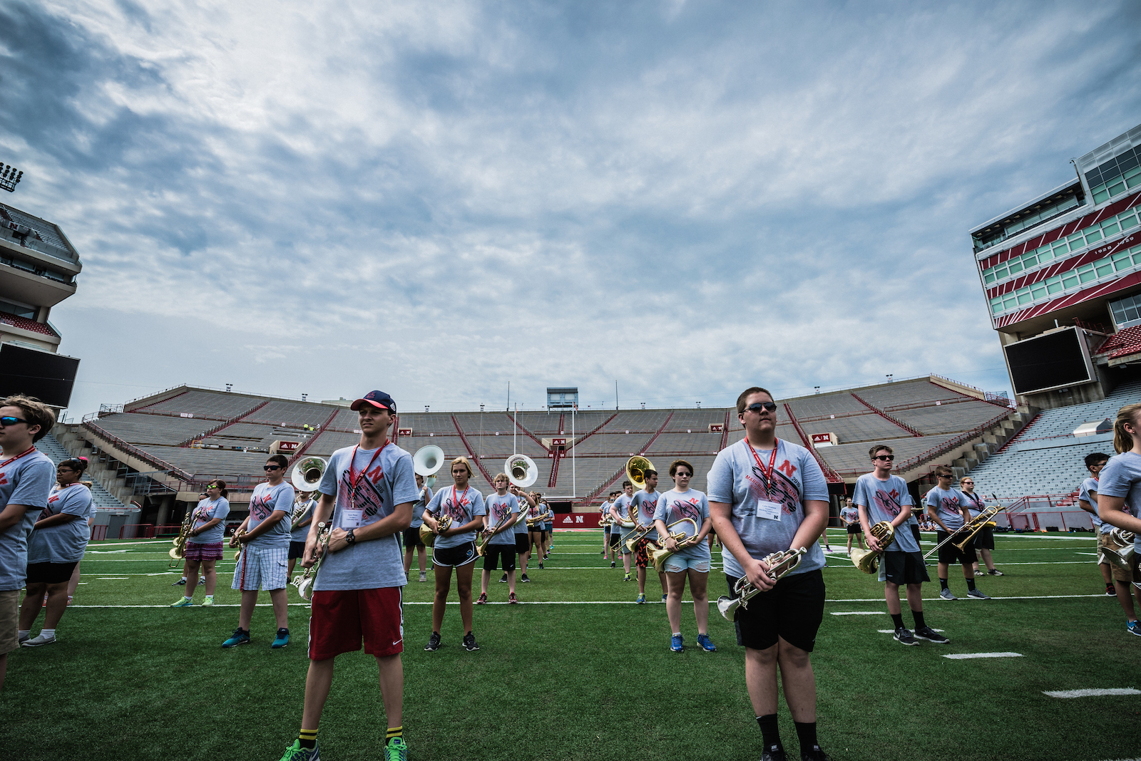 Cornhusker Marching Band Practicing at Memorial Stadium