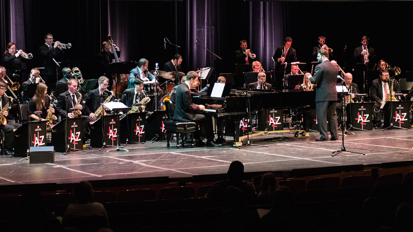 Jazz Orchestra plays on stage