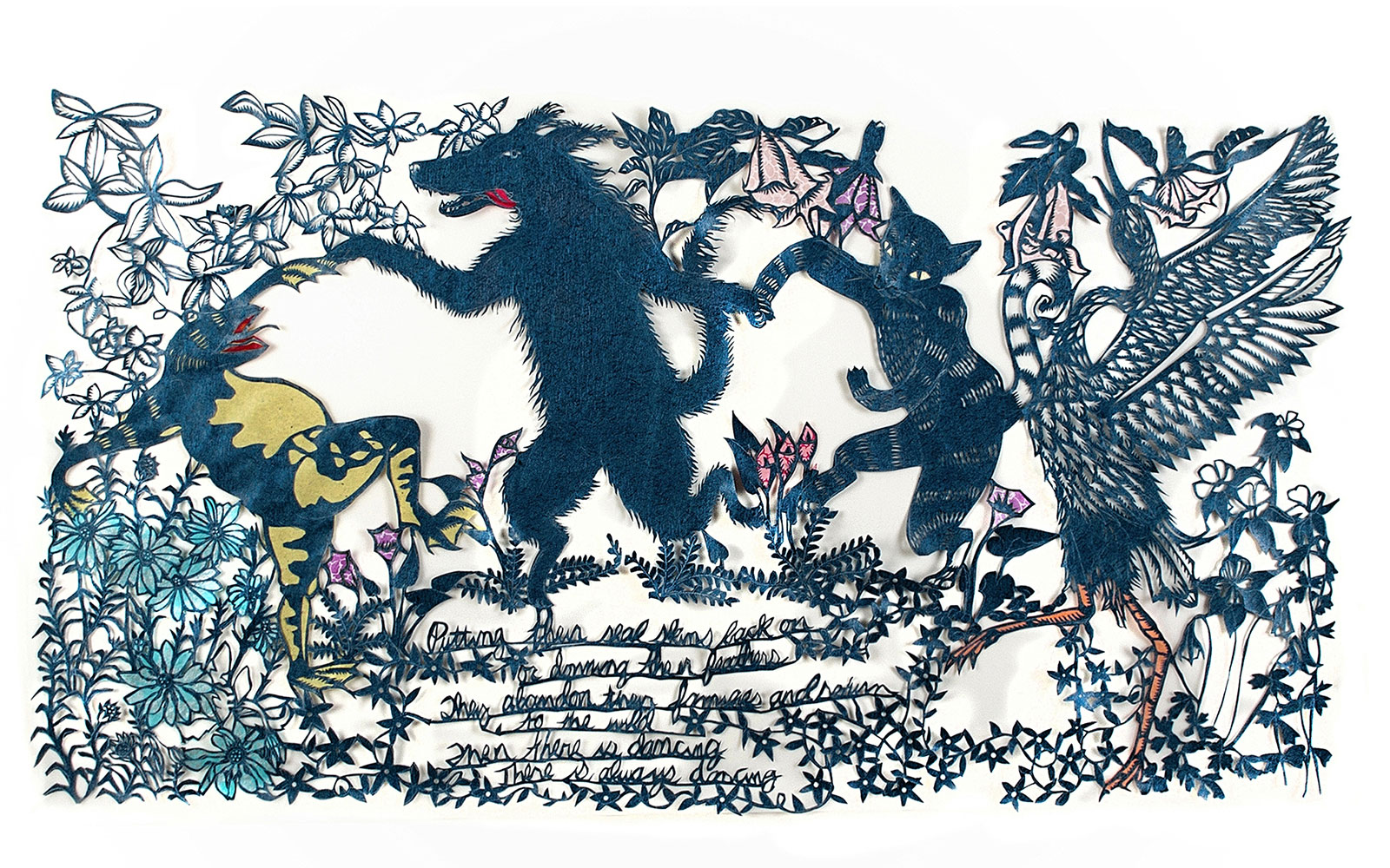 Papercut artwork by Sandra Williams titled Dance of the Animal Brides