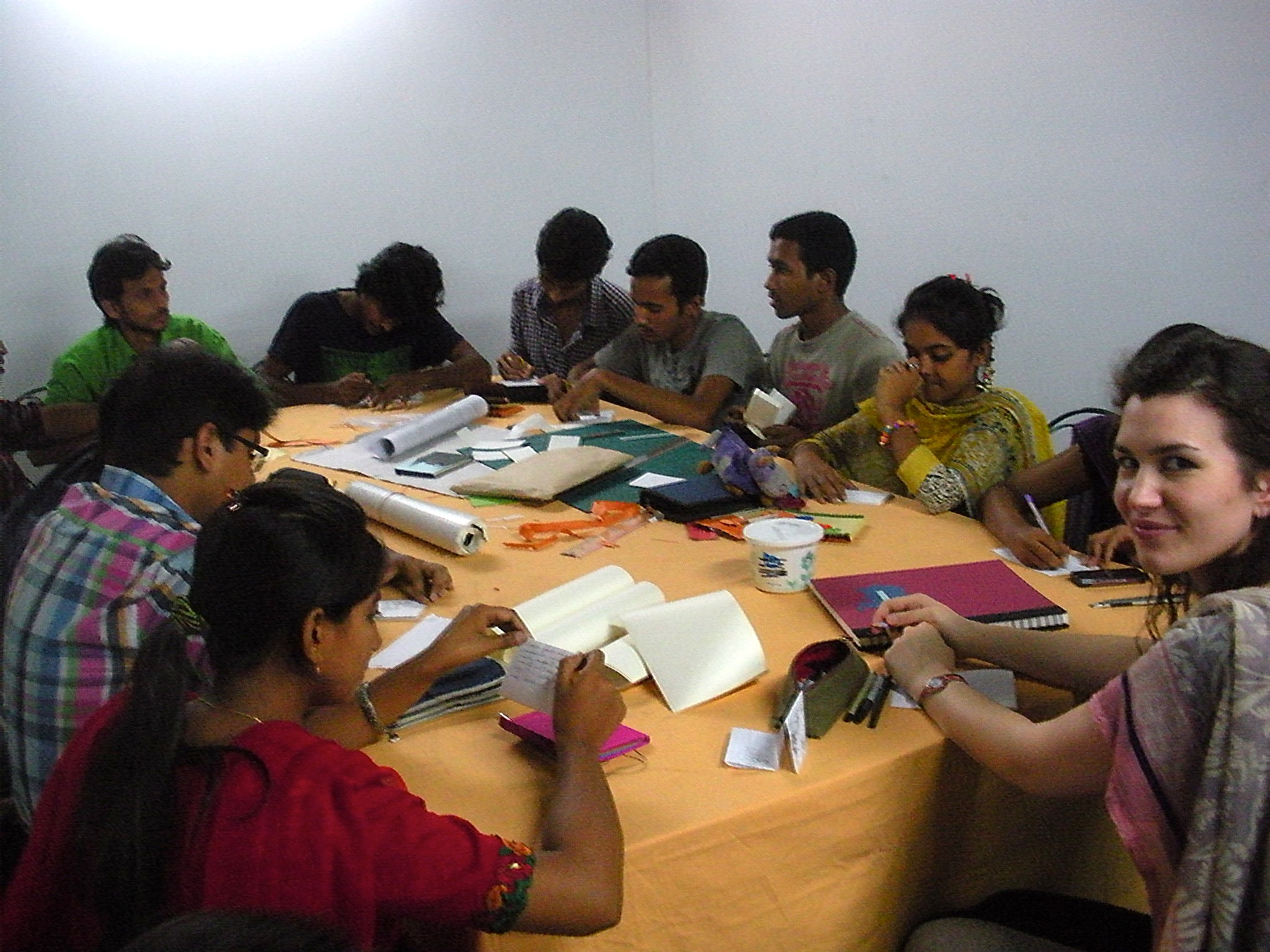 Camille Hawbaker (far right) leading a printmaking workshop in Bangladesh.