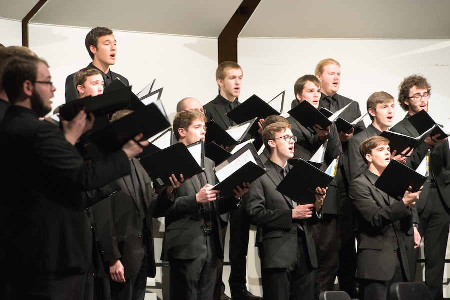Varsity Men's Chorus in performance