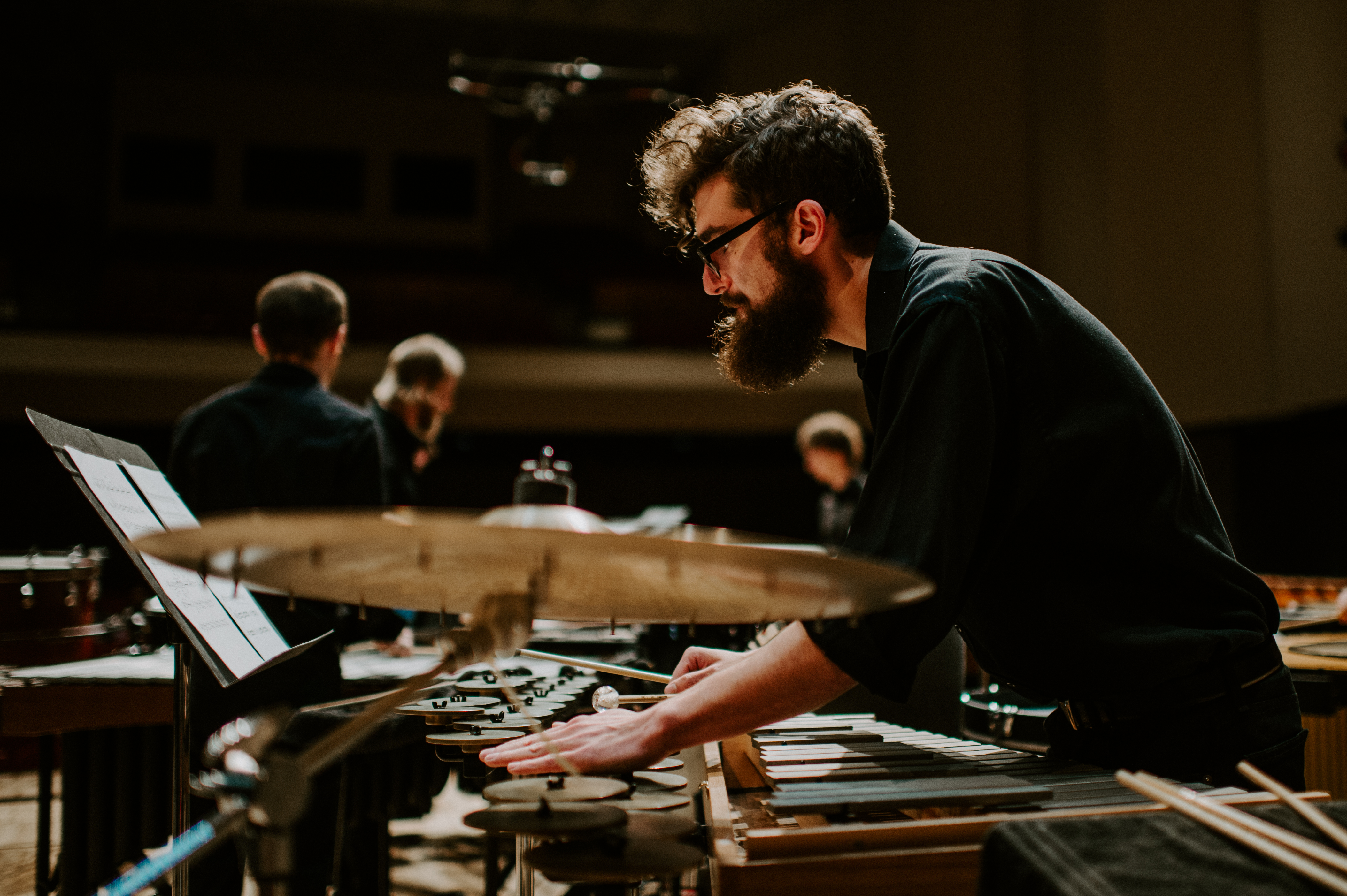 Percussionist playing crotales
