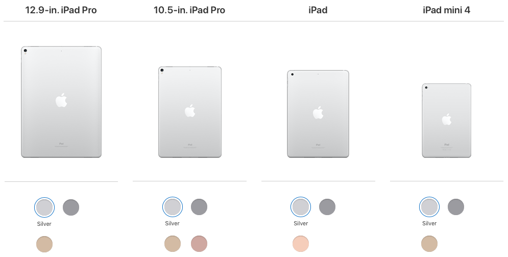 ipad image showing a range of options