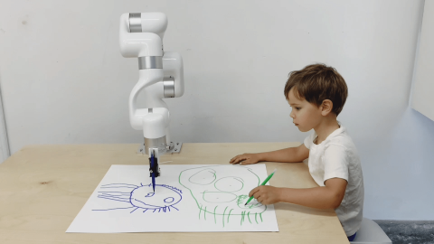 """From Robert Twomey's exhibition """"Three Stage Drawing Transfer."""" This project creates a visual-mental-physical circuit between a generative adversarial network (GAN), a co-robotic arm and a five-year-old child. Courtesy photo."""