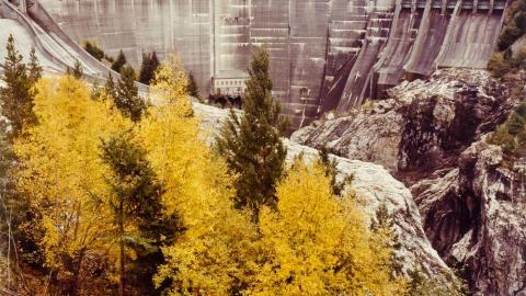 "Photo ""Diablo Dam, Sagit River, Washington"" (1982, color print), by John Pfahl"