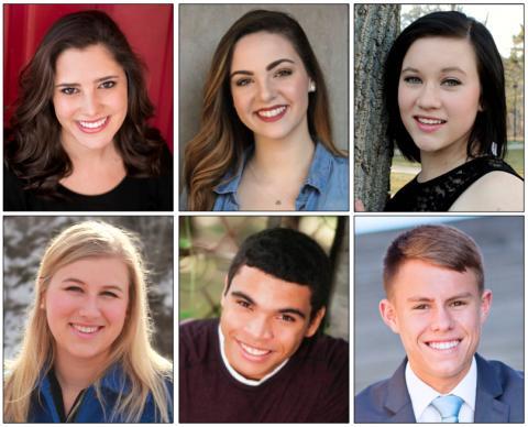 Clockwise from upper left:  Brittany Albin, Liza Piccoli, Victoria Handford, Dakota Mathew, Matthew Carter and Abby Kurth.