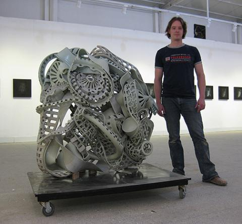 "Ryan LaBar with ""Made in China,"" wheel thrown porcelain, 52"" x 47"" x 30""."