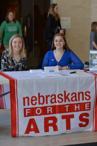 Skyler Dykes and Emmalee Allen at a previous Arts Advocacy Day. This year's event is March 6. Courtesy photo.
