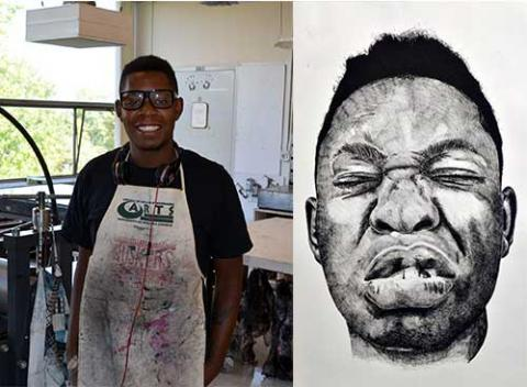"""Adrian Armstrong and his piece """"Mickey"""", one of his three pieces accepted into the Soo Visual Arts Center's exhibition."""