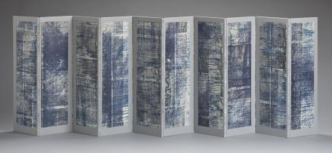 "Lynne Avadenka, ""Comes and Goes VI,"" 2010 (one side), relief and letterpress printing, typewriting on mixed media."