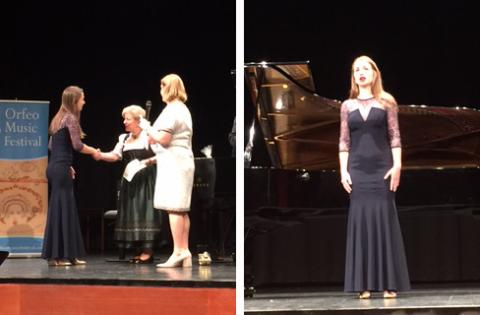 "(left) Krista Benesch accepts her award from the Vipiteno Minister of Culture and Festival Director Larisa Jackson. (right) Benesch performs ""Les temps de lilas"" during the Competition Winners Concert at the Orfeo Music Festival. Courtesy photos."