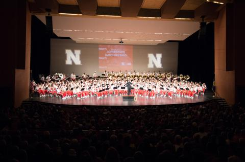 The Cornhusker Marching Band at the Lied Center for Performing Arts