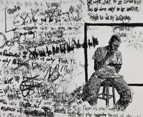 """Adry Cota, """"Do I Exist,"""" dry point etching over relief."""