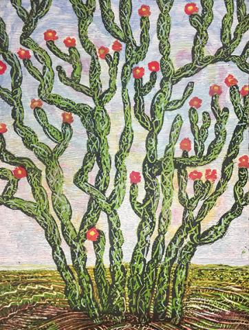 "Eddie Dominguez, ""Cholla,"" woodcut, 2016, 22.5"" x 30""."