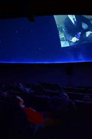 Students in the Film Scoring and Creative Sound Design and Digital Video Production classes watch their final projects at Mueller Planetarium in Morrill Hall. Photo by Ella Durham.