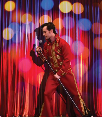 Colin Sphar as the Elvis impersonator, Casey. Photo by Justin Mohling, Graphics by Lindsey Young.