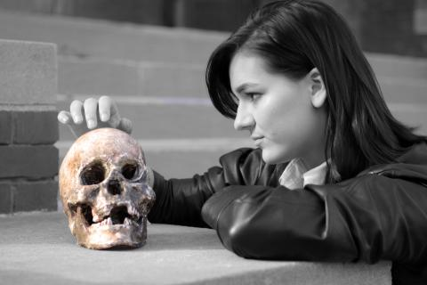 Emily Blythe as Hamlet. Photo by Doug Smith.