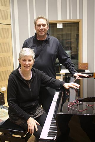 "Diana Blom and Kevin Hanrahan in the studio as they recorded their CD, ""New Art Song of the Pacific Rim."" Courtesy photo."