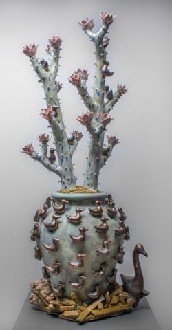 "P.J. Hargraves, ""Gathering Pot,"" 53"" x 24"" x 24"", ceramic, cone 6 salt fired stoneware, porcelain glaze and rare earth oxide."