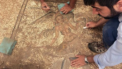 The mythological figure Ganymede appears in this detail of the mosaic paving for an ancient latrine discovered near the town center. Courtesy photo.