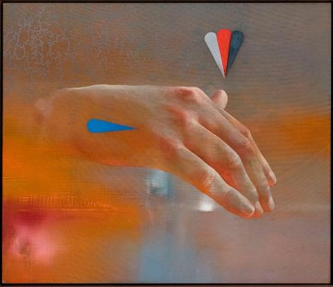 "Aaron Holz, ""Hand for Horace Greeley"", oil, resin and acrylic on panel, 9.5"" x 11.5"", 2013."
