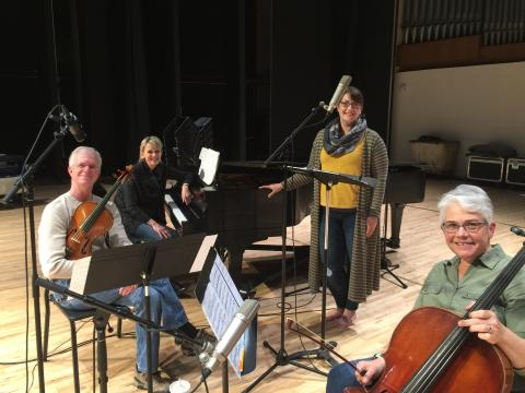 """Left to right: Clark Potter, Stacie Haneline, Jamie Reimer and Karen Becker record Reimer's CD, """"The Last Songs of Robert Owens"""" in Kimball Recital Hall in May 2019."""