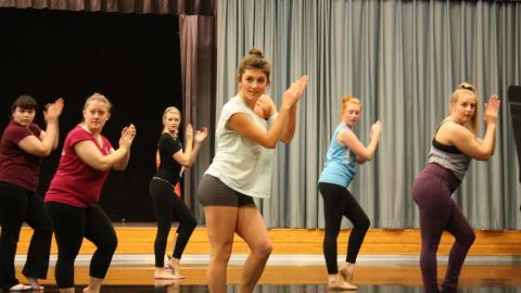 "UNL dance students participated in a master class with cast members from the Broadway musical ""Memphis."" Photo by Carrie Christensen-Lied Center of Performing Arts"