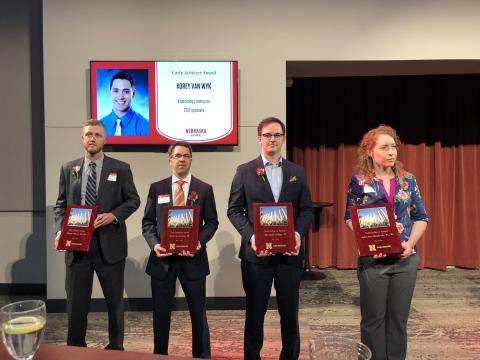 Alexander Jeffery (second from right) received the Nebraska Alumni Association's Early Achiever Award. Photo courtesy of the Nebraska Alumni Association.