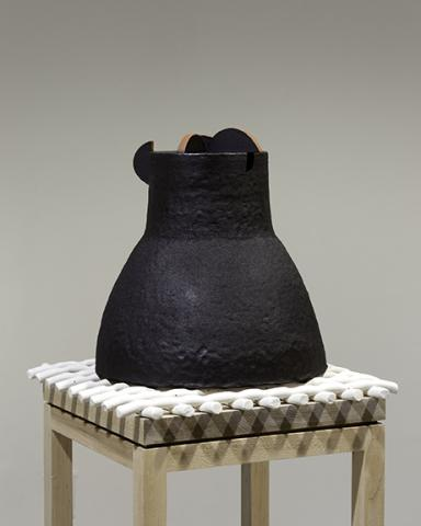 "Iren Tete, ""On the Nature of Things,"" stoneware, porcelain, engobe, white maple, 49"" x 14"" x 14"", 2018."