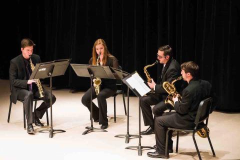 UNL Saxophone Studio performing at Westbrook Recital Hall