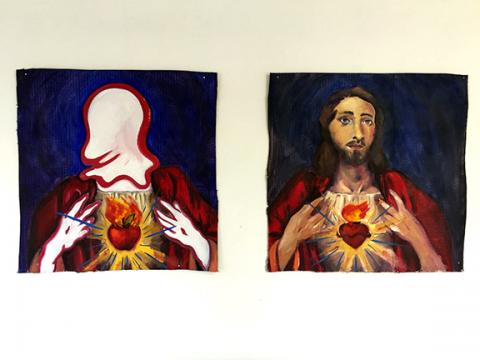"Michael Johnson, ""Wiggle Jesus"" (diptych), oil paint on gessoed cardboard, 60"" x 60"", 2019."