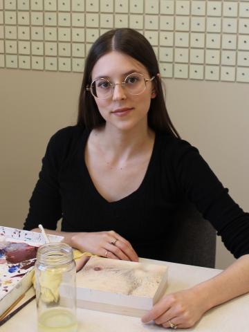 Julia Leggent in the studio.