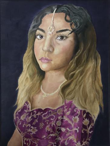 "Riya Kannapareddy, ""Self-Portrait,"" oil paint on canvas, 12"" x 10"", 2020."