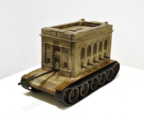"Kris Kuksi, ""Bank Tank,"" mixed media assemblage, 22"" x 11.5"" x 9"", 2016."