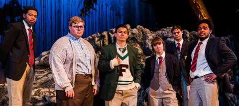 Travis Banks (Sam), Colton Storm (Piggy), Bradley Tejeda (Ralph), Tyler Meredith (Simon), Harrison Bryan (Jack) and Japrice Green (Eric). Photo by John Ficenec.