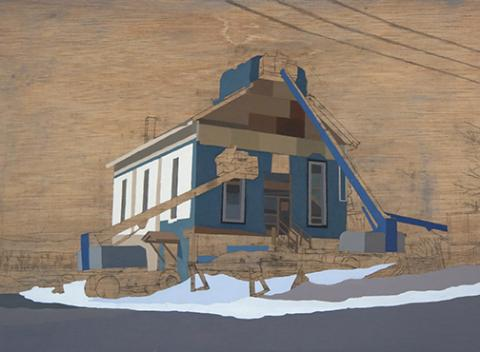 "David Linneweh, ""Refurbished Landscape, Vermont,"" oil on panel, 2008."