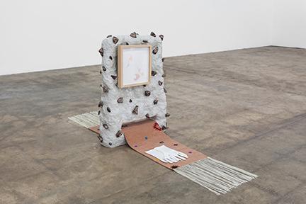 "Linda Lopez, ""Start/Never Ending,"" 2016. Ceramic, custom XYZ Coop rug, ink and gouache on paper, frame, cotton gloves. 27"" h x 22.5"" w x 58"" d."