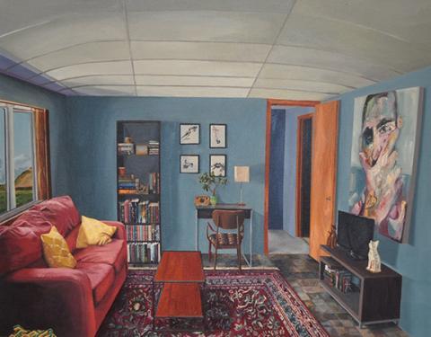 "Maddie Hinrichs, ""apartment,"" oil on canvas, 24"" x 30"" x2"", 2018."