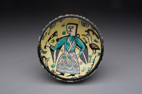 Bowl, Iran, Nishapur, 950-1100 C.E. Earthenware, polychrome decoration under transparent glaze. 9.2cm high x 20cm width. Original in the collection of the Metropolitan Museum of Art in New York. Reproduced by Patrick Hargraves.