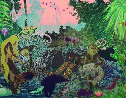 "Aaron Morse, Mata Atlantica (#2), 2015, acrylic and oil on canvas, 46"" x 59"". Image courtesy of the artist and ACME., Los Angeles."