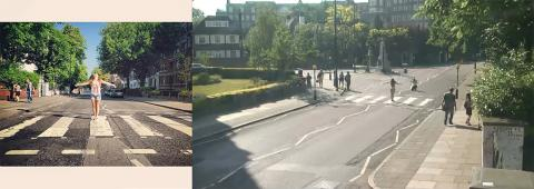 "An image from Carlos Pacheco's ""Found,"" an ongoing, globally collaborative exploration utilizing social media and live streaming webcams to pinpoint a moment in time and space from multiple perspectives. These images are from Abbey Road in London."