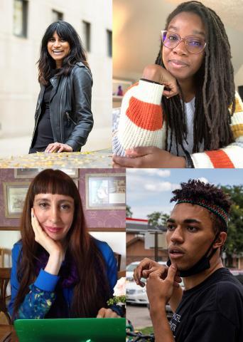 Clockwise from upper left:  Sampada Aranke, Julia Neal, Kieran Jack Wilson and Alexis Salas.