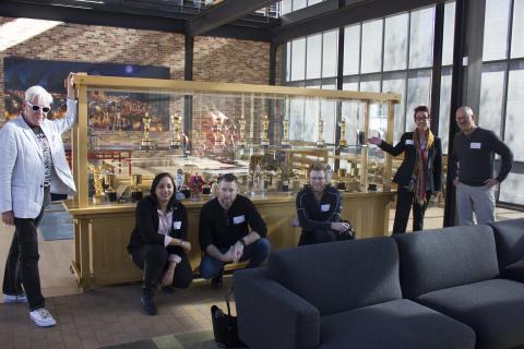 Left to right:  Brendan Harkin, Swetha Gadwal, Mike Hamilton, Tyson Fiscus, Megan Elliott and Rick Endacott at Pixar Animation Studios. Photo by Joe Starkey.